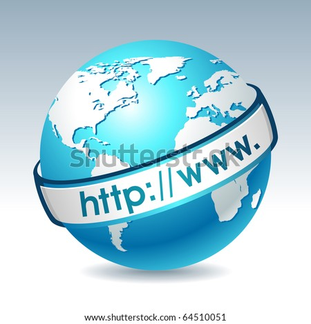Globe with internet adress. Clean vector illustration on gradient background. Web design element. - stock vector