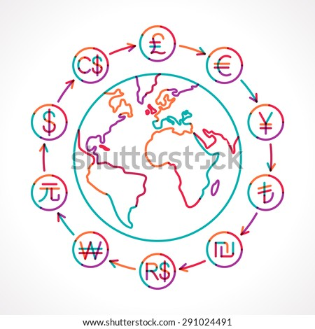 Globe with money cycle symbol. Various currencies signs. Banking, international trading, money exchange, financial system concept. Transparent colorful line vector illustration - stock vector
