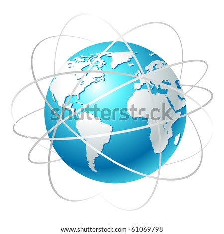 Globe with orbits. Clean vector illustration on white. - stock vector