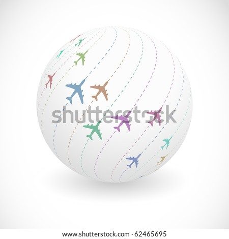 Globe with plane sign. Vector illustration. - stock vector