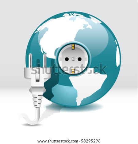 globe with power outlet and plug - stock vector