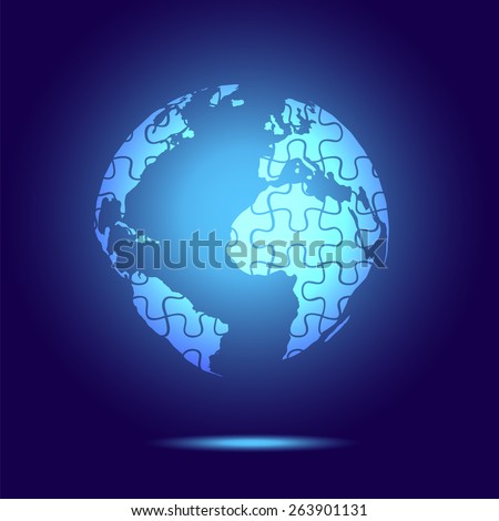 Globe with puzzle blue light. Autism awareness day - stock vector