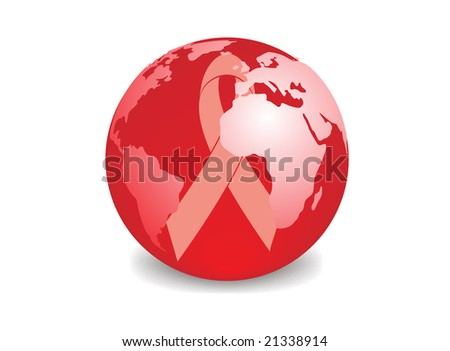 globe with red ribbon symbol of aids awareness - stock vector