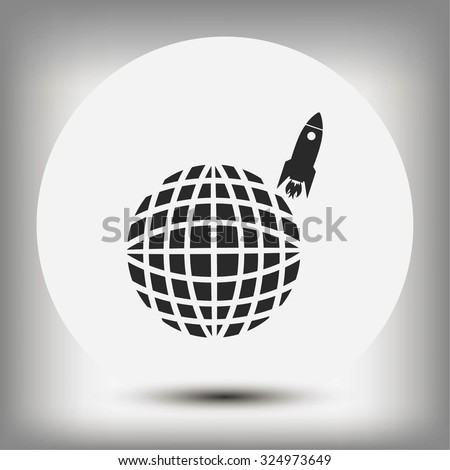 Globe with rocket icon