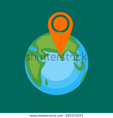 Globe with sign of vacation place. Vector illustration in flat style. - stock vector