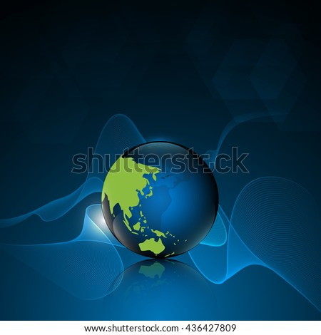 globe with world map internet networking design concept banner background