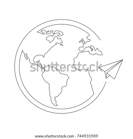 Globe, world, earth with plane, circling around.