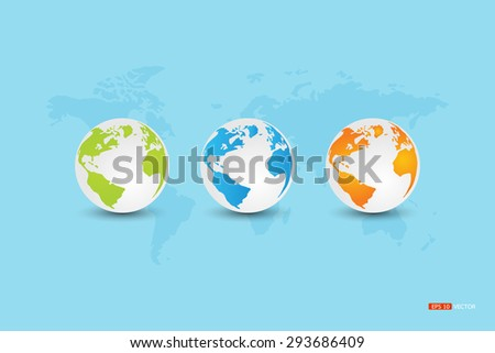 Globe, World (Green, blue, orange) On the world map on a blue background.Vector eps 10