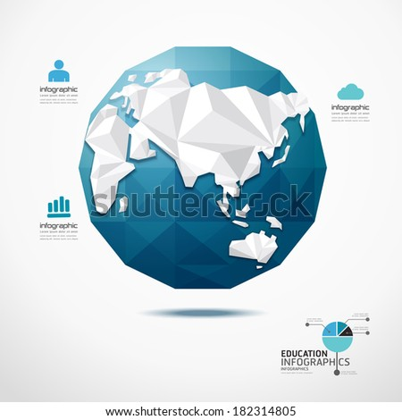 globe world map illustration infographics geometric concept design vector template. - stock vector