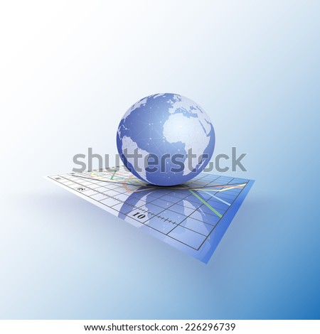 Globe world on the chart. Abstract vector illustration. - stock vector