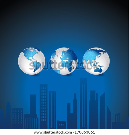 Globes and office buildings. Vector illustration of Global map in America continent, Asia continent, Africa, Middle East and European continents view. - stock vector