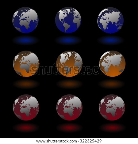 Globes and spheres lighting world map icons set isolated on black background, in blue, orange , red color with shadow. set