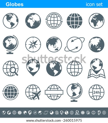 Globes Icons and Symbols - Illustration Vector set of globe icons