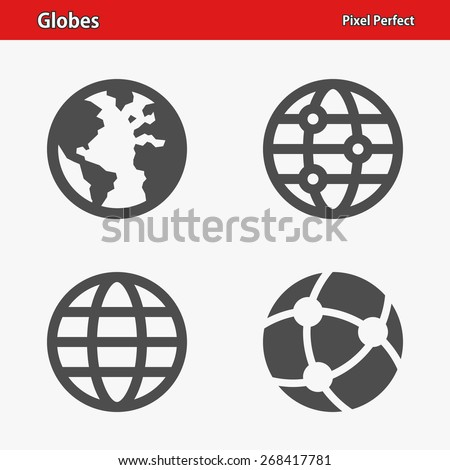 Globes Icons. Professional, pixel perfect icons optimized for both large and small resolutions. EPS 8 format. - stock vector