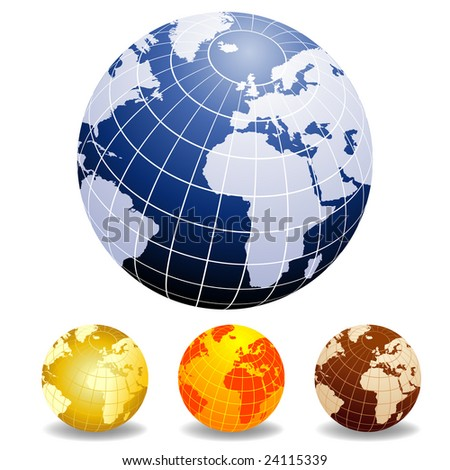 Globes of the World Europe and Africa in different colors - stock vector