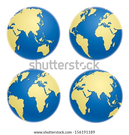 Globes, realistic vector illustration - stock vector
