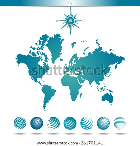 Globes with World Map and Compass - stock vector