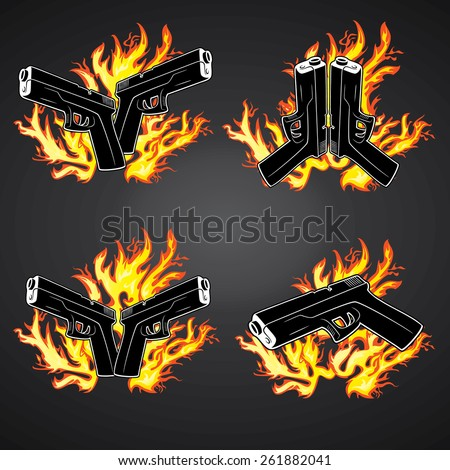 glock weapon in fire flames background - stock vector