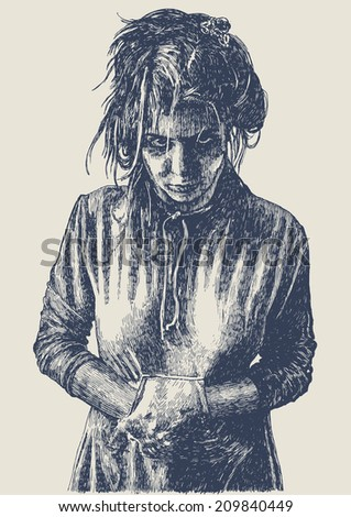 Gloomy crazy girl, drawing style. vector illustration  - stock vector