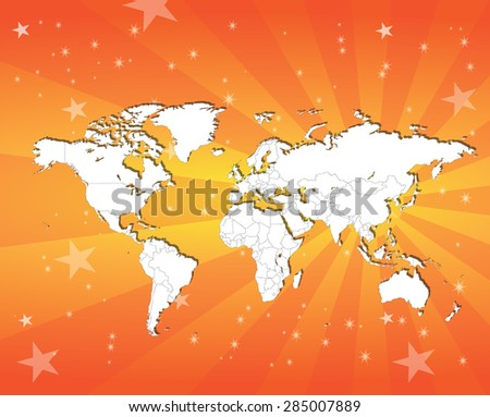 Glorious Display of The World Map - All countries separable by border - Background Included - stock vector
