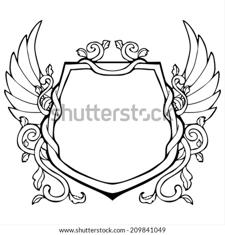 glory frame in Shield shape with wing vintage drawing vector - stock vector