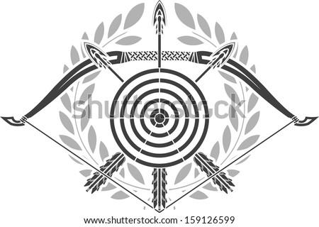 glory of archery. stencil. vector illustration - stock vector