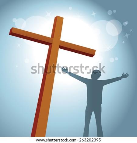 Glory of the cross. Hope and faith.  - stock vector