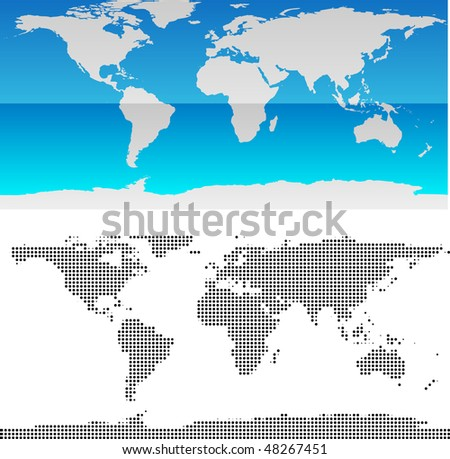 Glossy halftone world map vector stock vector 48267451 shutterstock glossy and halftone world map vector gumiabroncs Images