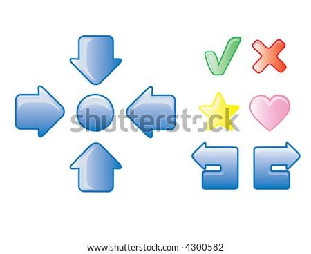 Glossy arrow icons - stock vector