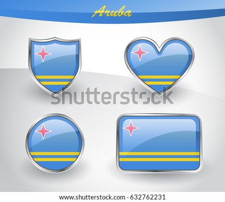 Glossy Aruba Flag Icon Set Shield Stock Photo (Photo, Vector ...