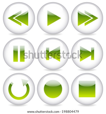 Glossy audio button set. Multimedia, playback interface elements. - stock vector