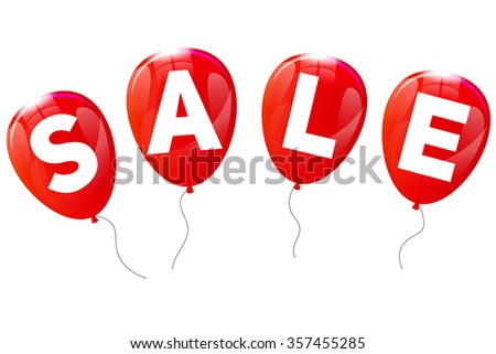 Glossy Balloons Sale Concept of Discount. Vector Illustration. EPS10