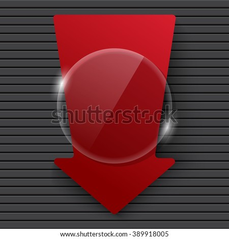 glossy banner with arrow - stock vector
