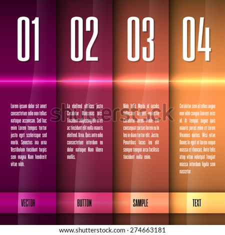 Glossy banners with glowing stripes. Modern vector layout. Graphic elements. - stock vector