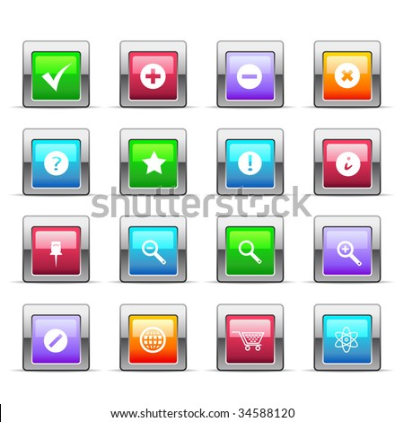 Glossy basic icons - stock vector