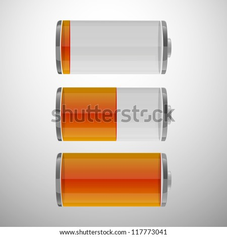 Glossy battery icons set. Set of battery charge level indicators. Vector illustration. eps 10 - stock vector