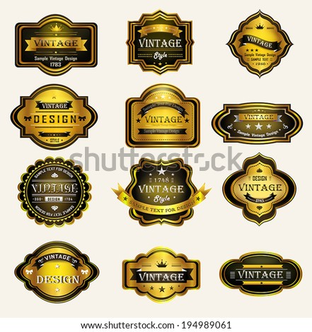 Glossy black gold vintage and retro badges label tag design for premium brand retail product promotion with sample text, create by vector - stock vector