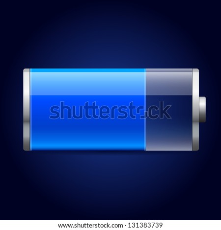 Glossy blue battery icon - stock vector