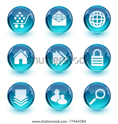 Glossy blue icons set - stock vector