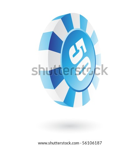 Glossy blue roulette chip - stock vector