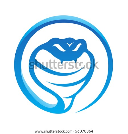 Glossy blue snake isolated on white - stock vector