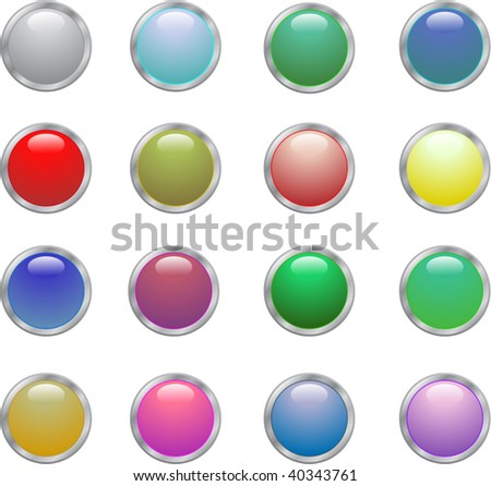 Glossy button icon set in 16 colors.
