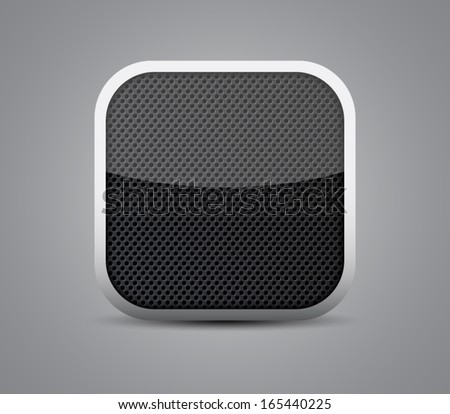 Glossy button / icon with shiny light, silver frame and metallic seamless circle pattern background for websites (UI) or applications (app) for smartphones and tablets. Modern and plastic style.