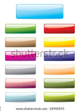 Glossy button set - stock vector