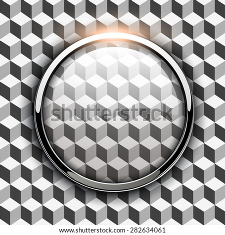 Glossy button, transparent on seamless background, vector illustration. - stock vector