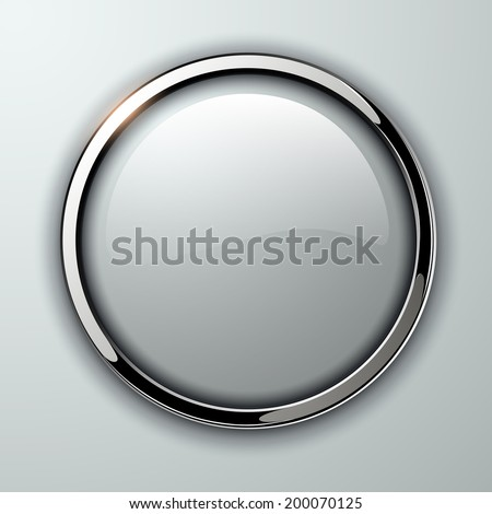 Glossy button, transparent with metallic elements, vector illustration. - stock vector