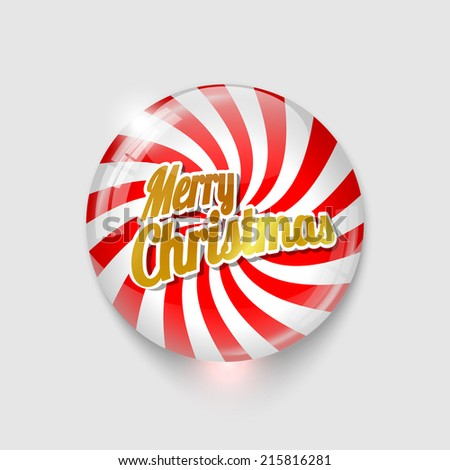 glossy button with spiral and text Merry Christmas, vector illustration, eps 10 with transparency - stock vector