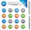 Glossy Buttons - Business strategy and management icons - stock photo