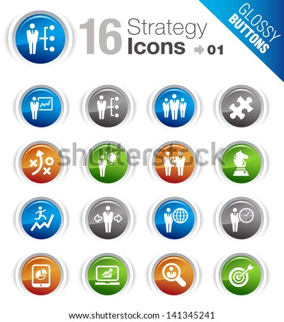 Glossy Buttons - Business strategy and management icons - stock vector