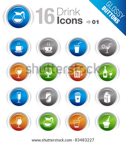 Glossy Buttons - Drink Icons - stock vector